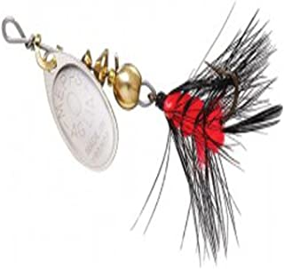 product image for Mepps Aglia and Black Fury Spin Fly Wooly Worm Fishing Lure, 1/12-Ounce, Silver/Black Orange Tail