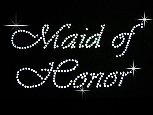 Maid of Honor Clear Rhinestone Iron on Hotfix Transfer Bling