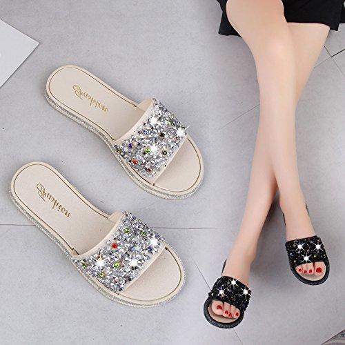 Zapatillas Joker Interiores para De Moda Sandalias y De Señoras Inferior Plana mujer Playa Y Verano Sandalias black WHLShoes Casual Desgaste Coreanas chanclas gTzWnq