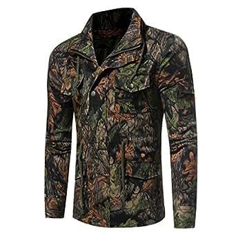 Men's Coat, LUNIWEI Men's Casual Slim Fit Button Suit Camouflage Print Blazer Outerwear (Green, Size M/Bust 100cm)