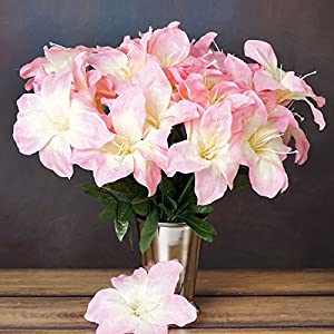 Efavormart 60 Easter Artificial Lilies for DIY Wedding Bouquets Centerpieces Arrangements Party Home Wholesale Supplies - Pink 38