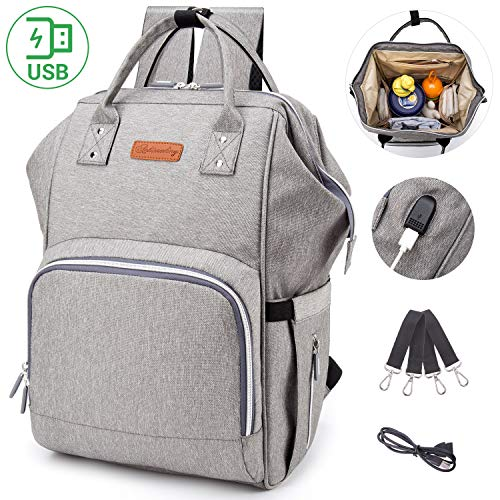 Diaper Bag Backpack with USB Charging Port,Multi-Function Waterproof Baby Nursing Nappy Travel Backpack with Large Capacity, Lightweight, Stylish and Durable for Travelling with Baby (Grey)