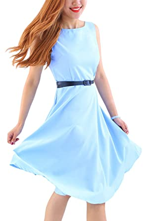 97ab69fbc154 YMING Women's Summer Swing Dress Sleeveless Vintage Dress Solid Color Dress  Light Blue 2XS