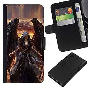 All Phone Most Case / Oferta Especial Cáscara Funda de cuero Monedero Cubierta de proteccion Caso / Wallet Case for Sony Xperia Z1 L39 // Death Drawing Black Wings Witch