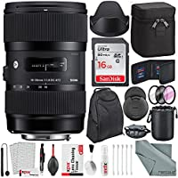 Sigma 18-35mm f/1.8 DC HSM Art Lens for Nikon with Deluxe Accessory Bundle and Xpix Cleaning Kit
