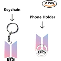 Loheag Clinor BTS Keychain & BTS Handyhalter Ring, BTS Band Members Fan Schlüsselbund Schlüsselanhänger Anhänger Ornament und Handy Fingerhalter Halter Halterung, Beste Geschenk für The Army