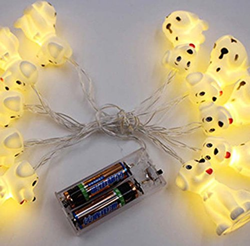 Circle Circle 1.5 m / 4.9 ft 10 Lights Battery Powered Cute Animal Spotty Dog Shape LED String Lights for Indoor/Outdoor Halloween Christmas Thanksgiving Home Party Children Kids Bedroom Decoration by Circle Circle (Image #1)
