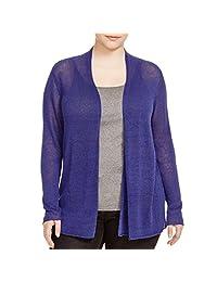 Eileen Fisher Womens Plus Knit Open Front Cardigan Sweater