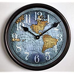 Vincenzo Blue World Map Wall Clock, Available in 8 Sizes, Most Sizes Ship The Next Business Day, Whisper Quiet.
