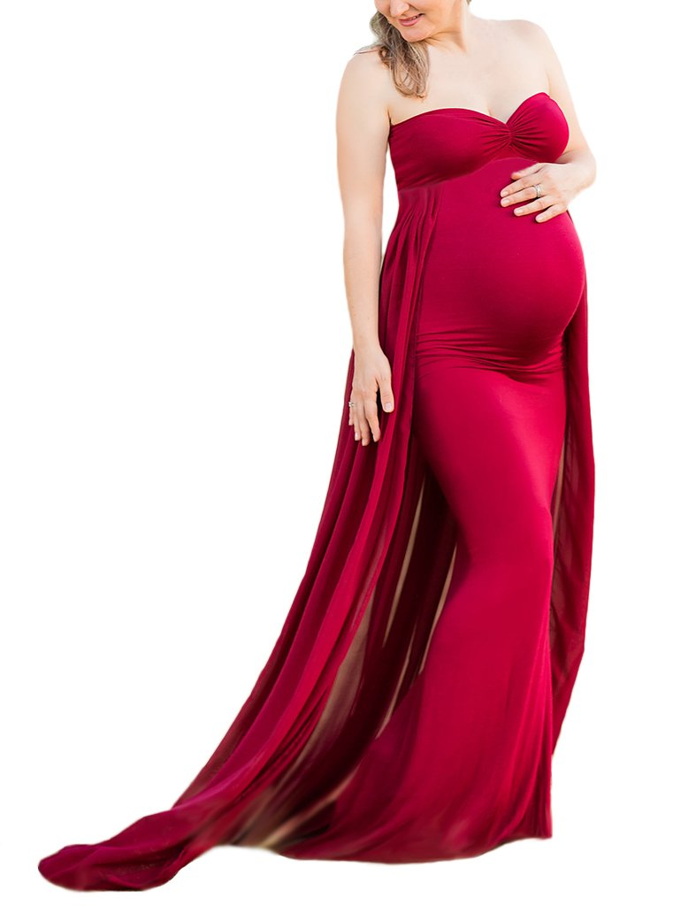 Maternity Gown Fitted Maxi Gown, Long Maternity Tube Dress Photography Photo Shoot, Baby Shower (M, Wine red)