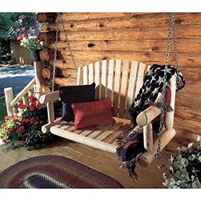 NEW Rustic Natural Cedar Furniture 4 ft. Log Porch Swing