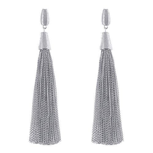 (Boderier Classic Chain Tassel Drop Earrings Fashion Celebrity Dangle Earrings for Women (Silver))