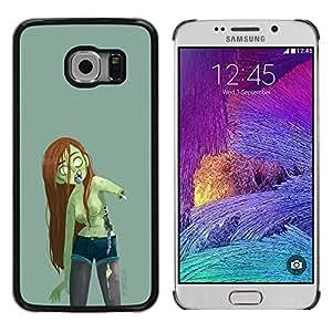 "For Samsung Galaxy S6 EDGE / SM-G925(NOT FOR S6) Case , Cabello zombi verde de la muchacha mujer Largo Castaña"" - Diseño Patrón Teléfono Caso Cubierta Case Bumper Duro Protección Case Cover Funda"