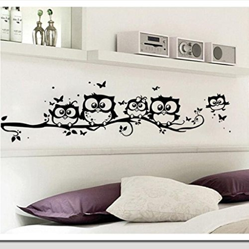 Wall Sticker, Mikey Store Kids Cartoon Art Owl Butterfly Decor