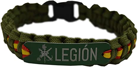 Pulsera Paracord Legión Española. Verde con Chapa de Aluminio. Bandera de España por Toda la Pulsera. Medida 21,5 x 1,5 cm. Aprox.: Amazon.es: Deportes y aire libre