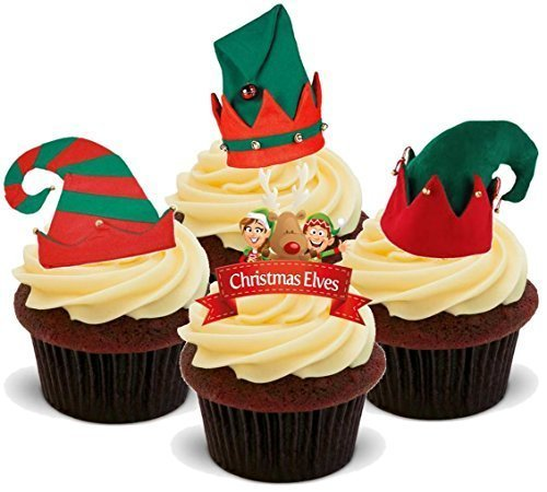 Christmas Xmas Elf Mix with Hats - Fun Novelty PREMIUM STAND UP Edible Wafer Paper Cake Toppers Decoration -