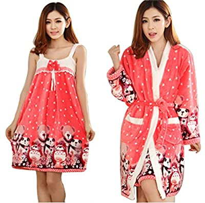 Lovely Lady Two Piece Sling Gown Bathrobe with Cute Panda Pattern-Red