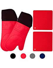 Silicone Oven Mitts and Potholders (4-Piece Set) Heavy Duty Cooking Gloves, Kitchen Counter Safe Trivet Mats | Advanced Heat Resistance, Non-Slip Textured Grip