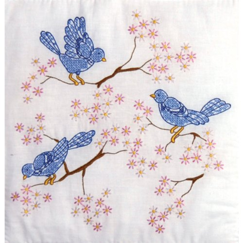 Tobin Stamped White 18x18 Quilt Block 6-Pack: Blue Birds