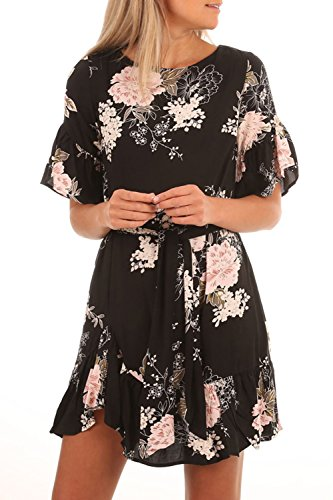 HOTAPEI Womens Casual Summer Black Floral Printed Ruffle Hem Short Sleeve Boho Mini Short Chiffon Dresses for Juniors Large - Black Chiffon Ruffle