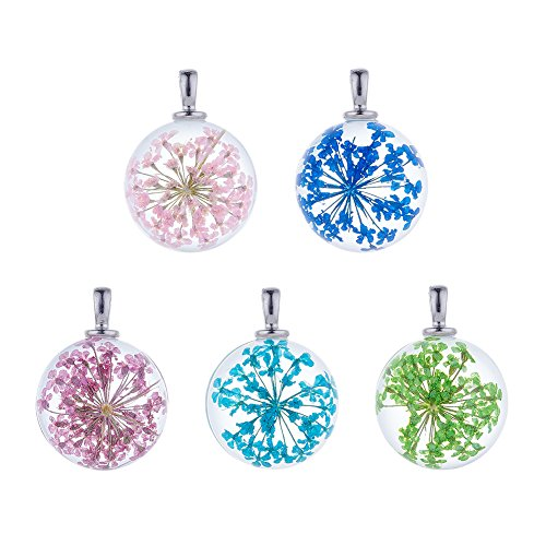 Glass Craft Beads Necklace Pendant (Beadthoven 5pcs Round Alloy Dried Flower Glass Pendants, Perfect for Making Bead Necklace, Bracelet, Earrings, & Choker 27~28x20mm, Hole: 4.5x2.5mm (Round, Platinum Bail))