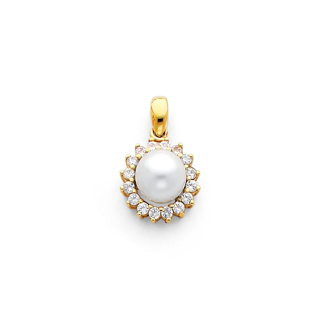 14k Yellow Gold with White CZ Accented Small//Mini Charm with Freshwater Cultured Button Pearl 8mm