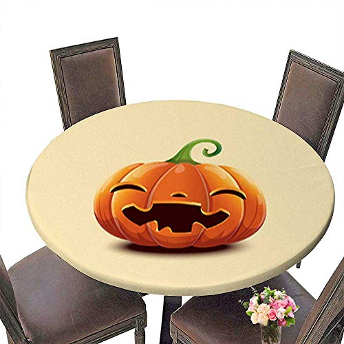 Polyester Happy Halloween Realistic Vector Halloween Pumpkin Happy face Halloween pumpki Linen Cotton Round Tablecloths for Kitchen Room up to 47.5