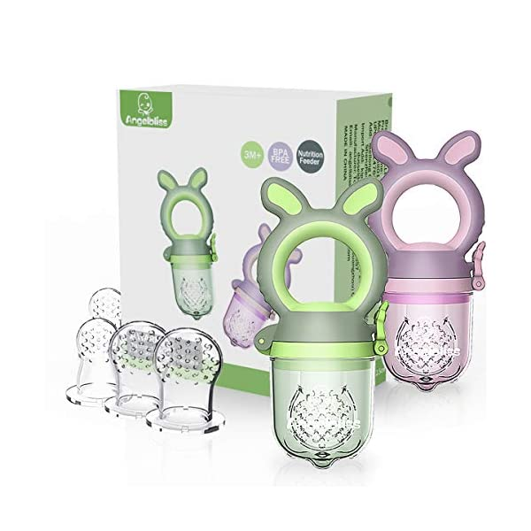 ANGELBLISS Tétine d'alimentation pour bébé/Tétine à fruit/tetine grignoteuse bebe/Jouet de dentition pour bébé aux appétissantes, sans BPA(Paquet de 2) 1