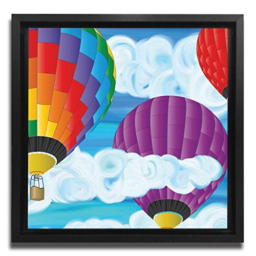 JP London Ready to Hang Made in North America Framed 1.5in Thick Gallery Wrap Canvas Wall Art Hot Air Balloon Painted Clouds 18in -