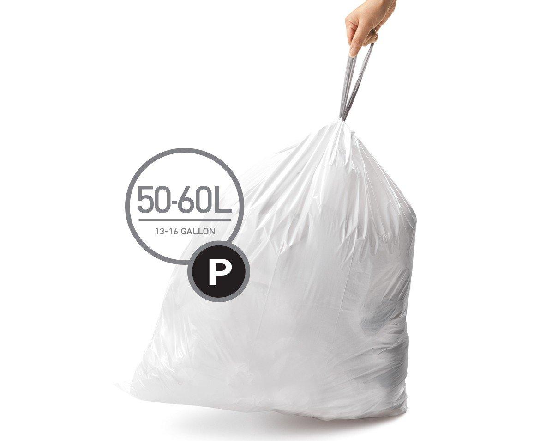 simplehuman Code P Custom Fit Trash Can Liner, 12 refill packs (240 Count), 50-60 Liter/13-16 Gallon