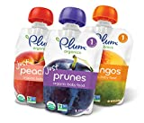 Plum Organics Stage 1, Organic Baby Food, Variety Pack, Prunes, Mangos & Peaches, 3.5 ounce pouch (Pack of 18)