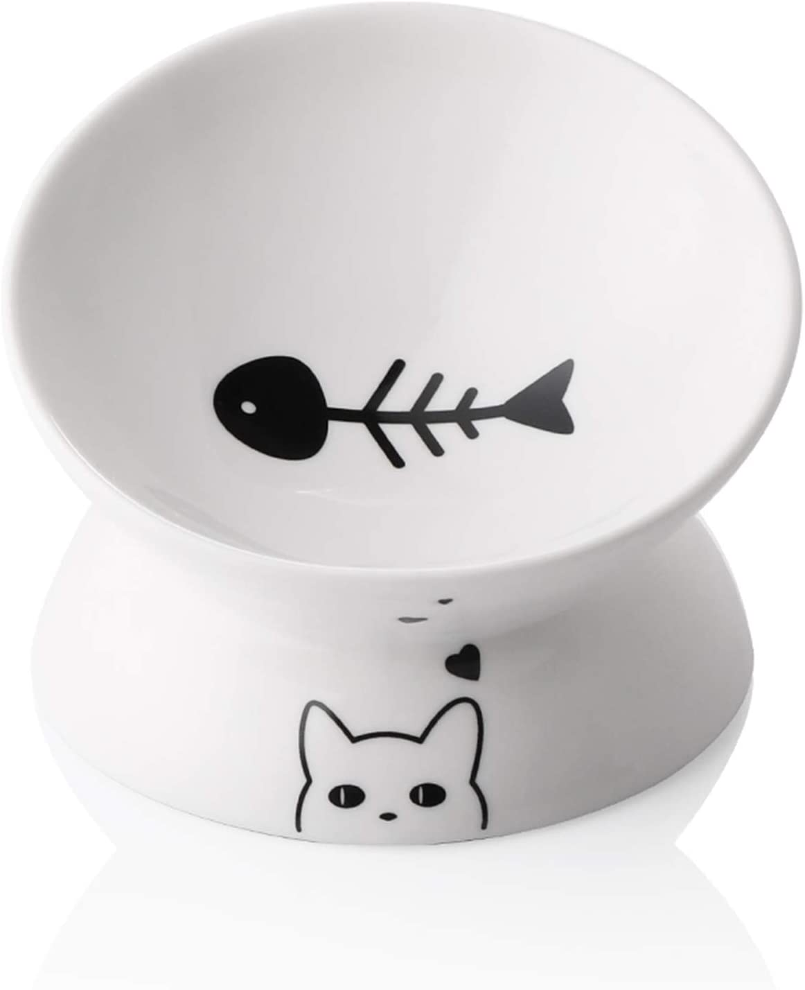 Sweejar Ceramic Raised Cat Bowls, Slanted Cat Dish Food or Water Bowls, Elevated Porcelain Pet Feeder Bowl Protect Cat's Spine, Stress Free, Backflow Prevention