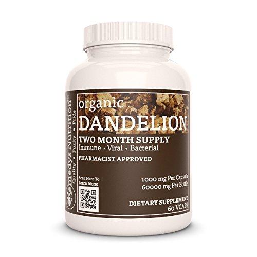 (Dandelion Root Remedys Nutrition Capsules MEGA STRENGTH Organic Vegan 1000 mg / 60,000 mg per bottle VCaps)