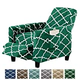 Great Bay Home Modern Velvet Plush Strapless Slipcover. Form Fit Stretch, Stylish Furniture Shield/Protector. Magnolia Collection Strapless Slipcover Brand. (Recliner, Emerald Green)
