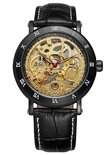 Carrie Hughes Men s Luxury Steampunk Automatic Mechanical Golden Skeleton Leather Watch CH498