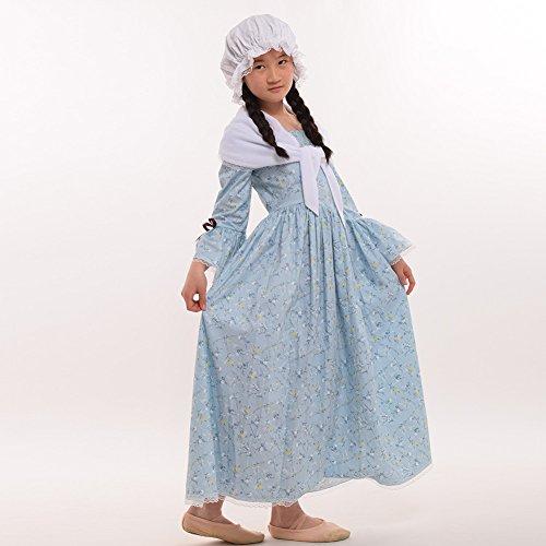 GRACEART Colonial Girls Dress Prairie Pioneer Costume 100% Cotton (Light Blue,Size-10) by GRACEART (Image #2)