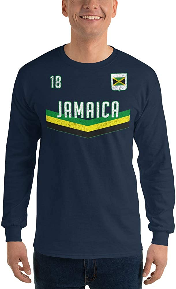 Womens Football Cup Tee Jamaican Flag Up Wits Creek Novelty T Shirts Jamaica Soccer Jersey Mens Long Sleeve T Shirt