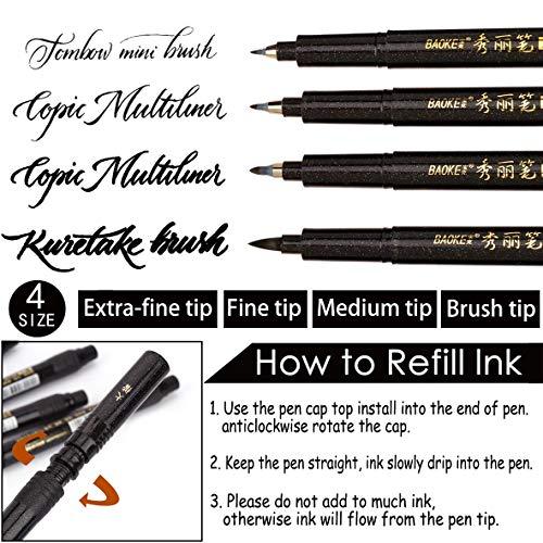 Hand Lettering Pens, 6 Pack Calligraphy Pen Refillable Brush Marker Pens  for Beginners Writing, Bullet Journaling, Signature, Multiliner, Sketching,