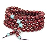 Mala Beads Mens Women Tibetan 108 8mm Rosewood Prayer Beads Chinese knot Wrist Bracelet Necklace