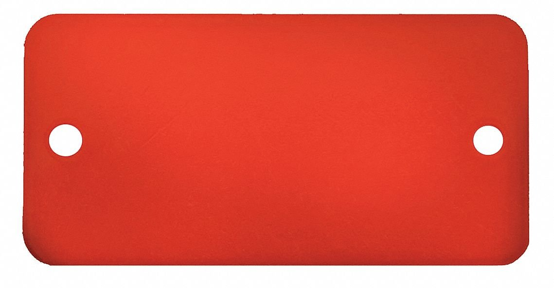 Red Blank Tag, Aluminum, Rectangle, 1'' Height, 5 PK