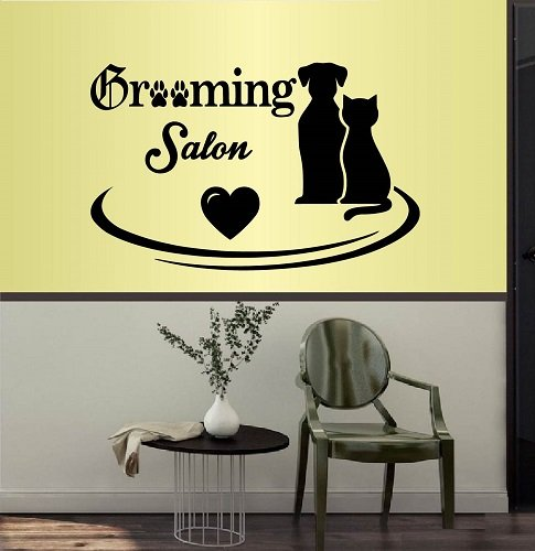 - Wall Vinyl Decal Home Decor Art Sticker Grooming Salon Dog and Cat Pets Groomery Room Removable Stylish Mural Unique Design