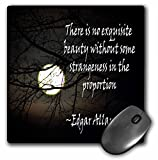 "3dRose Mouse Pad Edgar Allan Poe No Exquisite is a Photo of The Moon with a Quote, 8 x 8"" (mp_265357_1)"