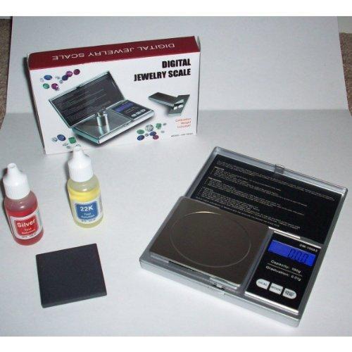 Silver & Gold Testing Kit: 2 Test Acid Bottles + 100g Lab Scale
