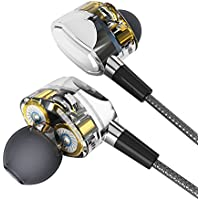 Stereo In-ear Earbuds with Dual Dynamic Drivers, Joly Joy Sports Heavy Bass Noise-isolating Headphones, In-line Mic Control Compatible with iPhone, Android