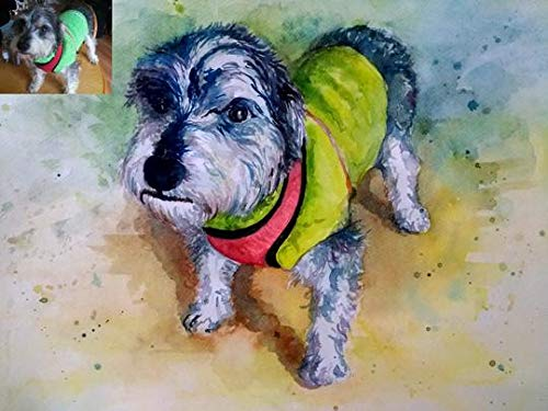 - SmileMiddle Handmade Watercolor Pet Painting | Photo to Painting | Custom Portrait | Wedding, Birthday, Anniversary, Christmas, Girlfriend, Boyfriend Gift (12 x 16.5 inches (A3) - One Face/Subject)