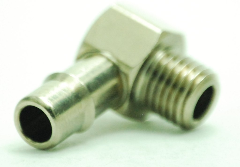 M6 Male Single Barb Hose//Tubing Fitting Elbow L Connector Nickel Plated 1//8 Hose ID