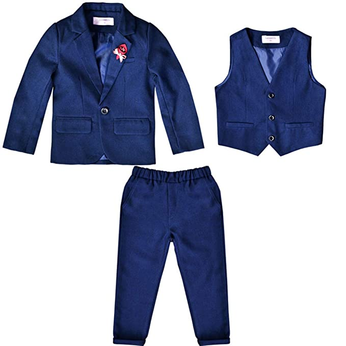Amazon.com: BOZEVON Kids Boys Blazer Tuxedo Suit 3 Pieces ...