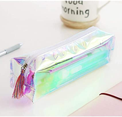 Estuche transparente para lápices, de la marca Kawaii, con purpurina, color A: Amazon.es: Oficina y papelería