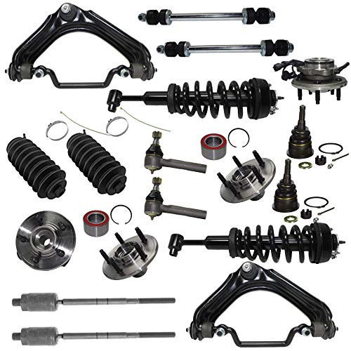 (Detroit Axle - 18PC Front Ready-Struts + Wheel Hub & Bearings + Upper Control Arms w/Ball Joint, Tie Rods, Sway Bars and Boots Kit for 2002-2005 Ford Explorer/Mercury Mountaineer 4.0L V6)