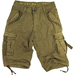 Mens Khaki Cargo Shorts Military #A8s Size:42